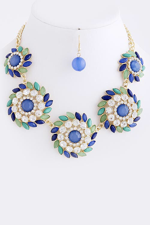 Fancy Flourish Jeweled Statement Necklace - Jacksons Runaway
