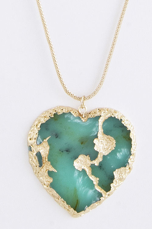 Follow Your Heart Pendant Necklace - Turquoise