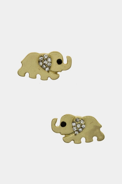 Trunk On Stud Crystal Earrings - Gold | JacksonsRunaway