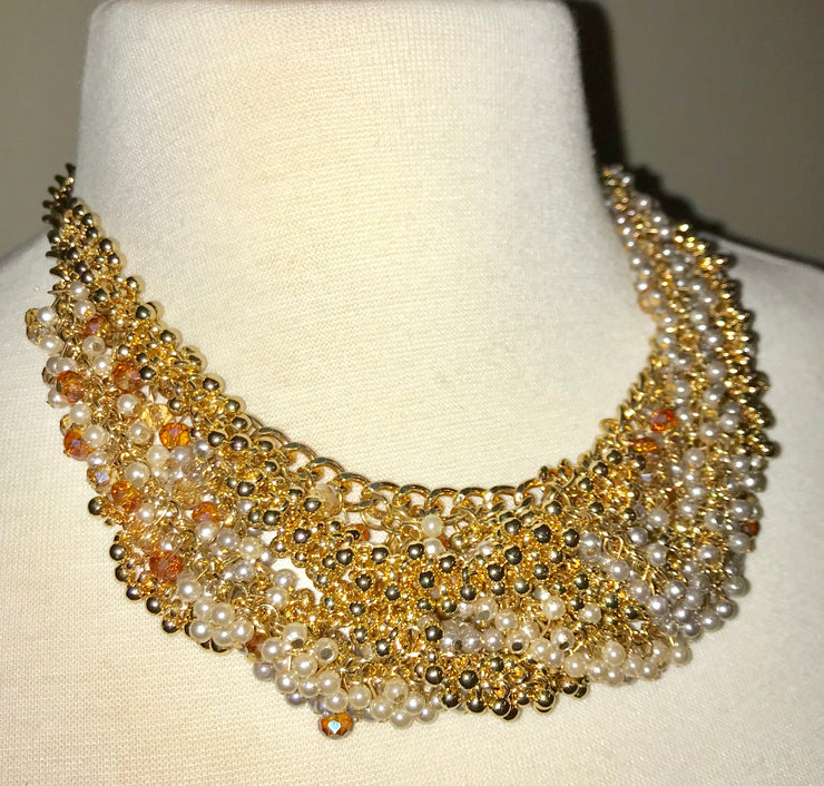 Cluster Statement Beaded Detail Necklace