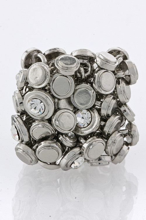Cluster Fluck Stretch Women's Ring - Silver | JacksonsRunaway