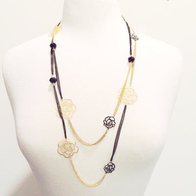 Dare To Bloom Layered Necklace - Black and Gold | JacksonsRunaway