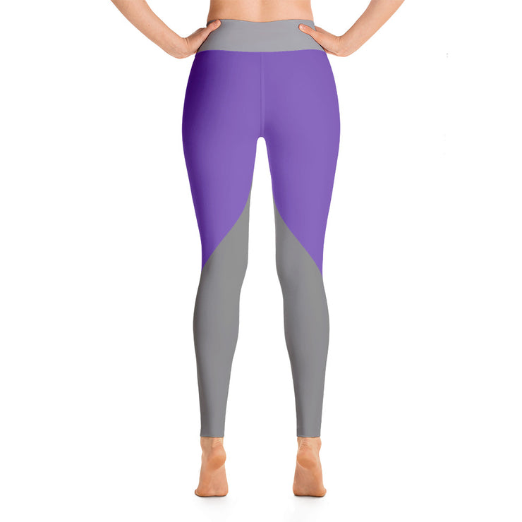 Gray on Purple High Waistband Yoga Leggings |  | Activewear | JacksonsRunaway
