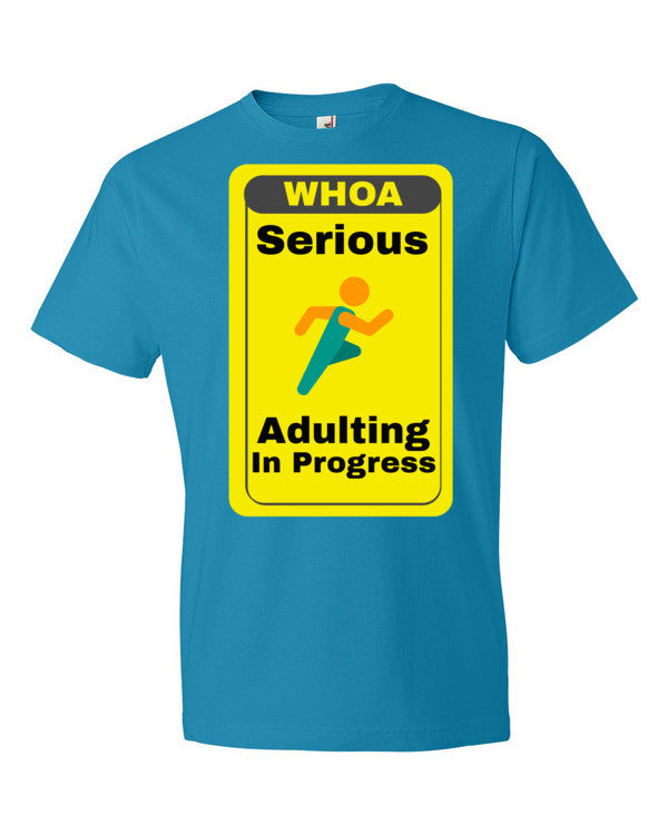 Serious Adulting in Progress! Men's T-shirt | Caribbean Blue / 3XL | Men's Shirt | JacksonsRunaway