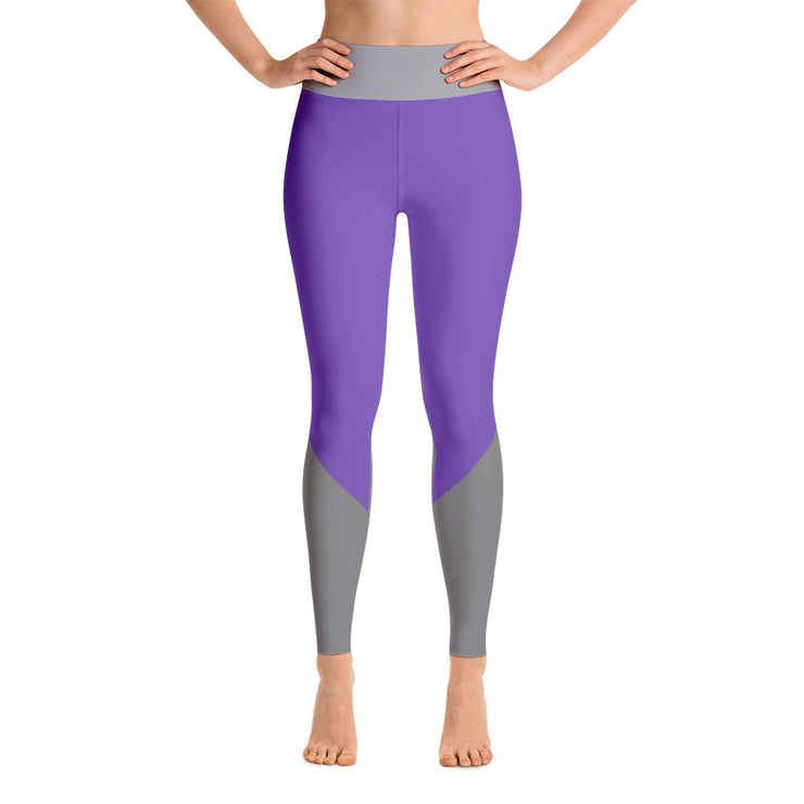 Gray on Purple High Waistband Yoga Leggings | XL / Purple/Grey | Activewear | JacksonsRunaway
