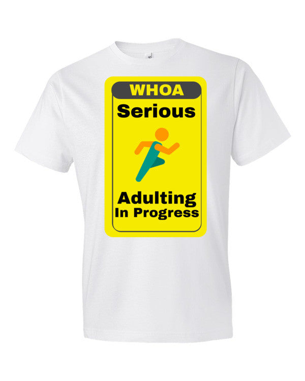 Serious Adulting in Progress! Men's T-shirt | White / 3XL | Men's Shirt | JacksonsRunaway