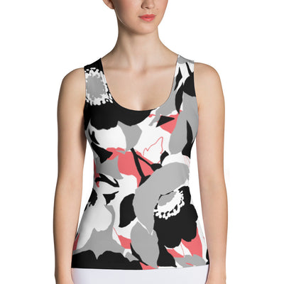 Abstract Flower Fitted Tank Top   jacksons runaway.myshopify.com