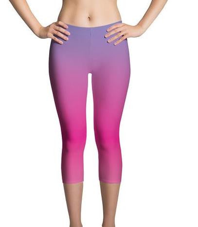 Ombre Purple/Fuchsia Capri Women's Leggings |  | Activewear | JacksonsRunaway