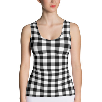 Gingham Style Casual Tank Top | XL / Black/White | Tank Top | JacksonsRunaway