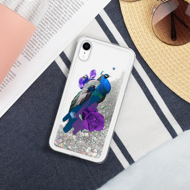 Peacock Liquid Glitter Phone Case | Silver / iPhone XR | iPhone Accessories | JacksonsRunaway