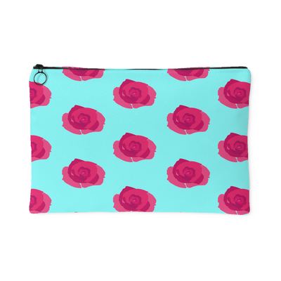 Flower Print Carry All Pouch | Large Accessory Pouch / Teal/Fucsia | Accessories | JacksonsRunaway
