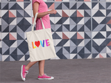 Love  Woven Cotten Print Tote Bag   jacksons runaway.myshopify.com