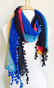 Poms of Color Lightweight Scarf   jacksons runaway.myshopify.com