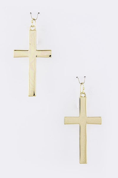 Simple Cross Drop Earrings