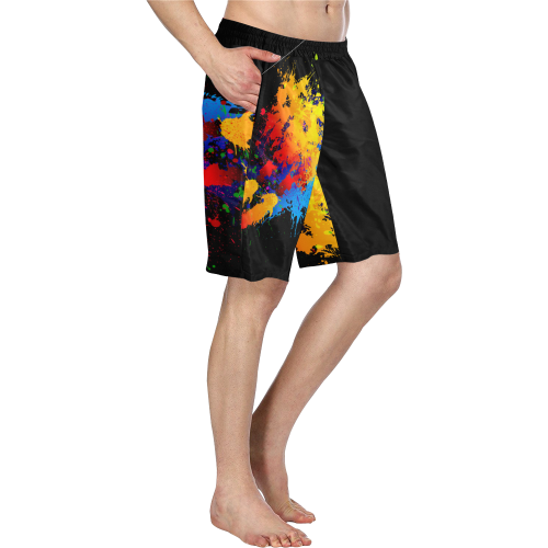 Splatter Men's Board Shorts | XXXXL / Black/Multi-Color / Board Shorts | swimwear | JacksonsRunaway