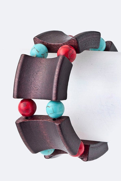 Wood You Mind Bracelet - Turquoise and Red | JacksonsRunaway