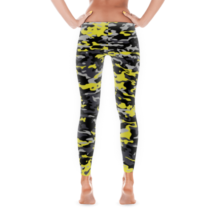 Camo Style Full Pant Women's Leggings | JacksonsRunaway | Yellow Camo