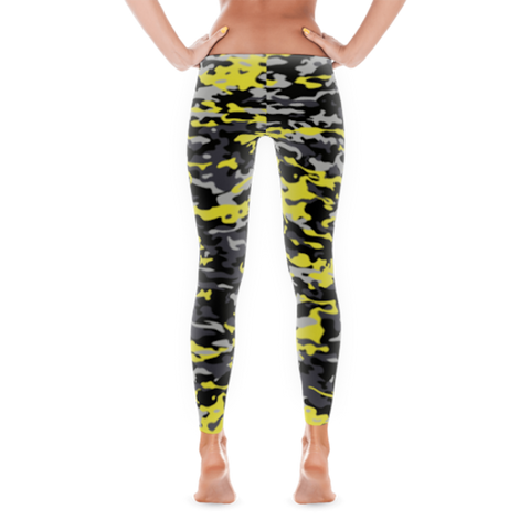 Yellow and Black Camouflage Full Pant Leggings By JacksonsRunaway