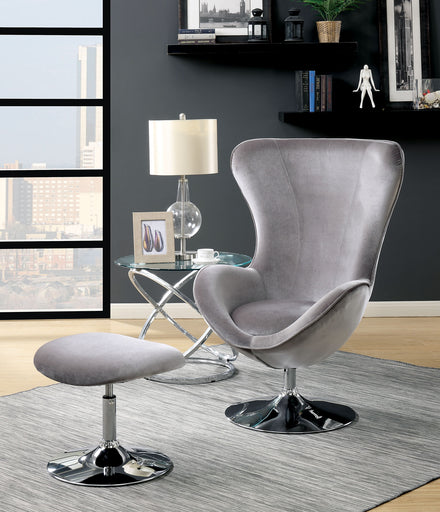 SHELIA Gray Accent Chair w/ Ottoman image