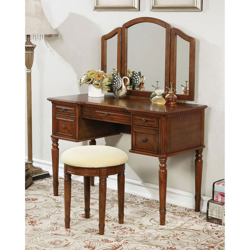 Natalia Brown Cherry Vanity w/ Stool image
