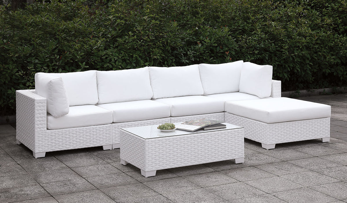 Somani Light Gray Wicker/Ivory Cushion L-Sectional + End Table image