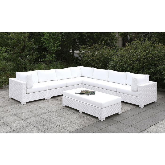 Somani Light Gray Wicker/Ivory Cushion U-Sectional + Coffee Table + End Table image