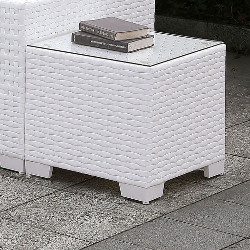 Somani White Wicker/White Cushion End Table image