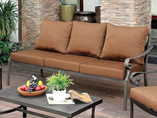 BONQUESHA I Brown/Distressed Black Patio Sofa image
