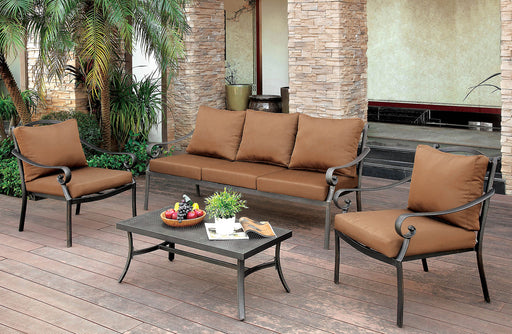 BONQUESHA I Brown/Distressed Black 4 Pc. Patio Set image