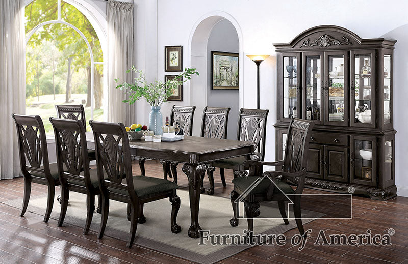 Petersburg Dark Gray 9 Pc. Dining Table Set (2AC+6SC) image