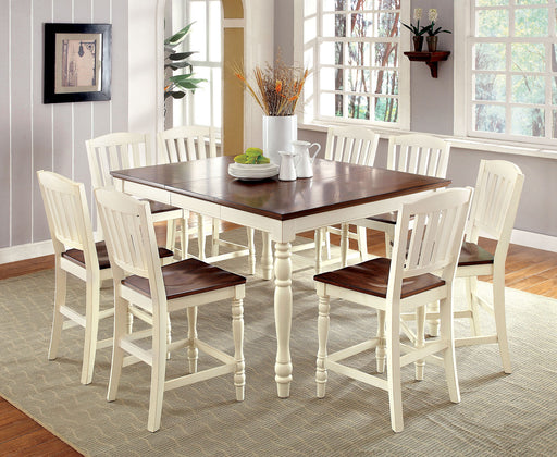 HARRISBURG II Vintage White/Dark Oak 7 Pc. Counter Ht. Dining Table Set image