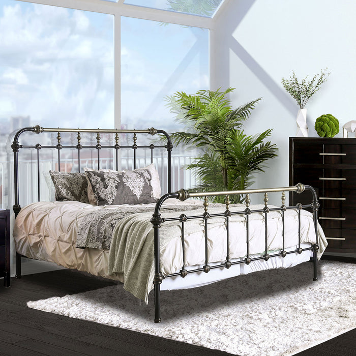RIANA Antique Black Metal Queen Bed image