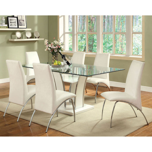 Glenview White/Chrome 7 Pc. Dining Table Set image