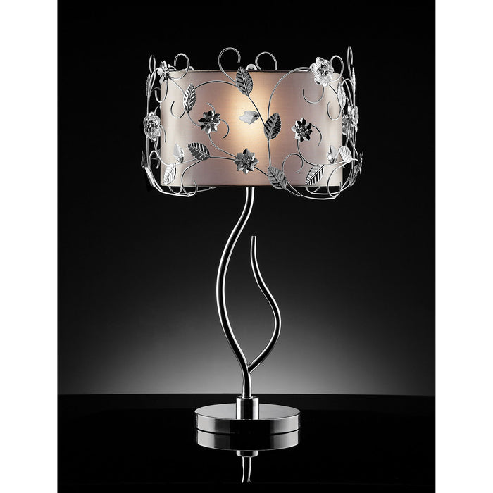 Elva Silver/Chrome Table Lamp, Double Shade image