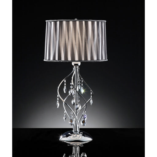 Arya Black/Chrome Table Lamp, Hanging Crystal image