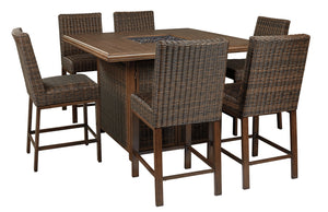 Paradise Trail Signature Design 7-Piece Outdoor Bar Table Set