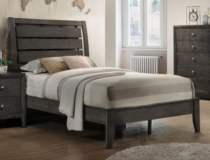 Crown Mark Furniture Evan Twin Panel Bed in Grey image