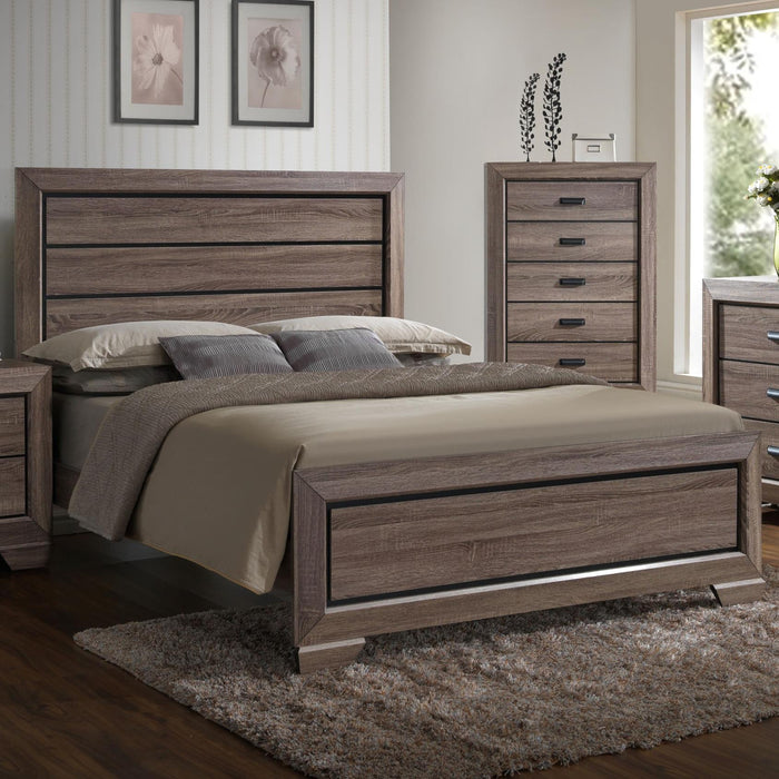 Crown Mark Farrow King Panel Bed in Brown image