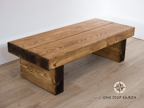 Chunky Rustic Solid Dark Oak Pine Beam Coffee Table