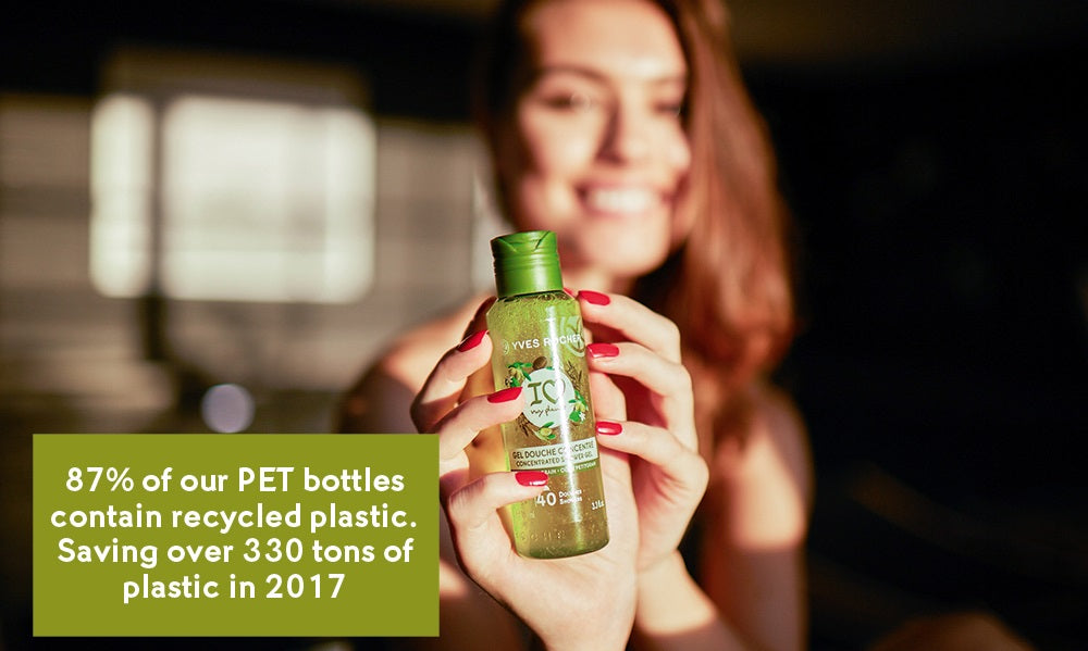 87% of our PET bottles contain recycled plastic. Saving over 330 tons of plastic in 2017