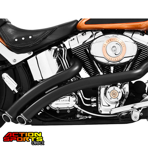 Freedom Radical Radius Exhaust – Black with Black End Caps. Fits Softail 1986-2017