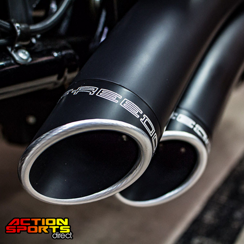 Sharp Curve Radius Exhaust – Black with Black End Caps. Fits Softail 2018up.