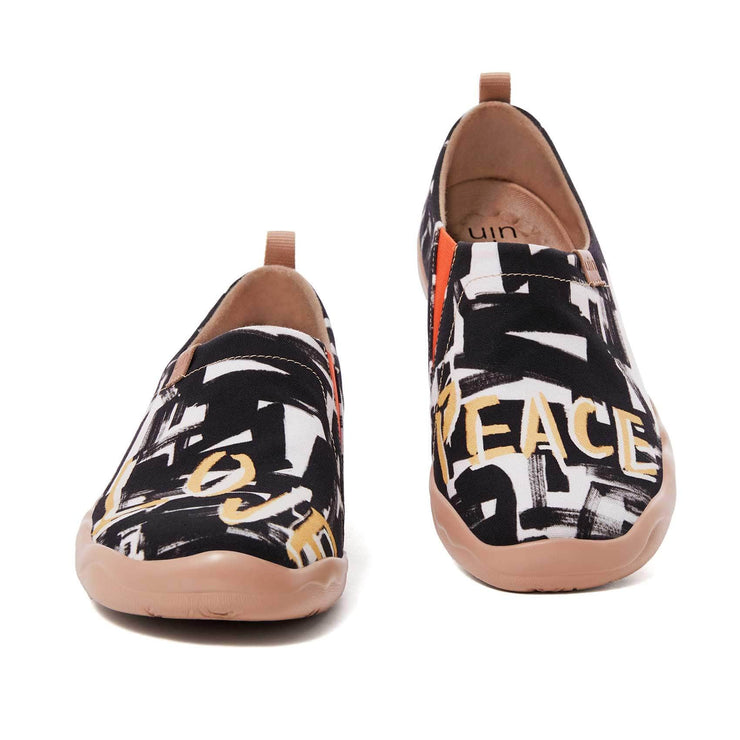 UIN Footwear Men Fight For Peace Canvas loafers