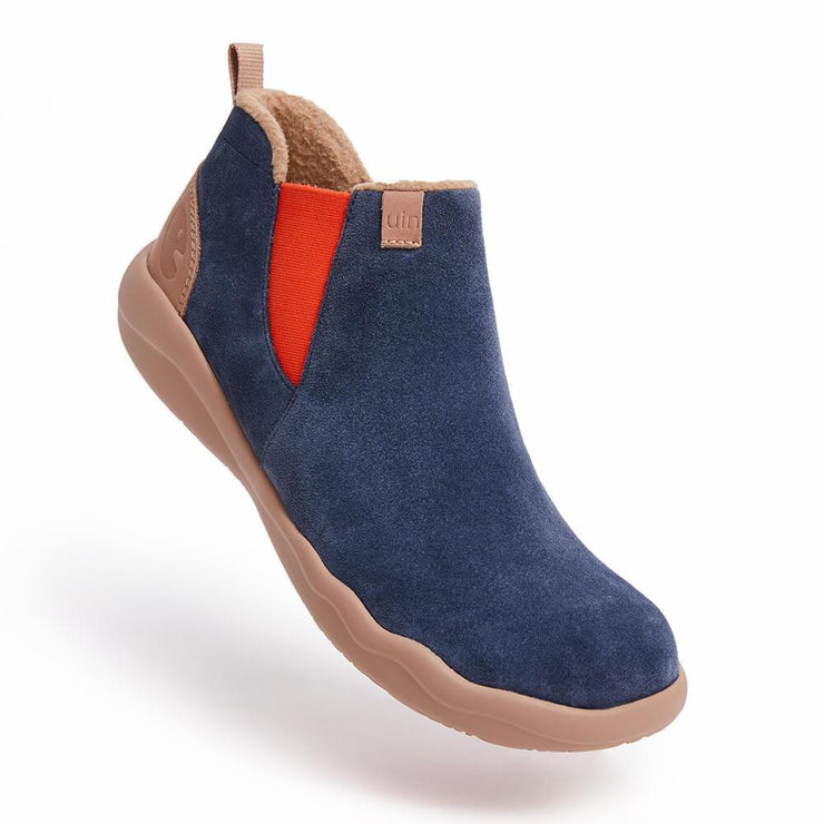 UIN Footwear Men Granada Deep Blue Cow Suede Chelsea Boots Men Canvas loafers