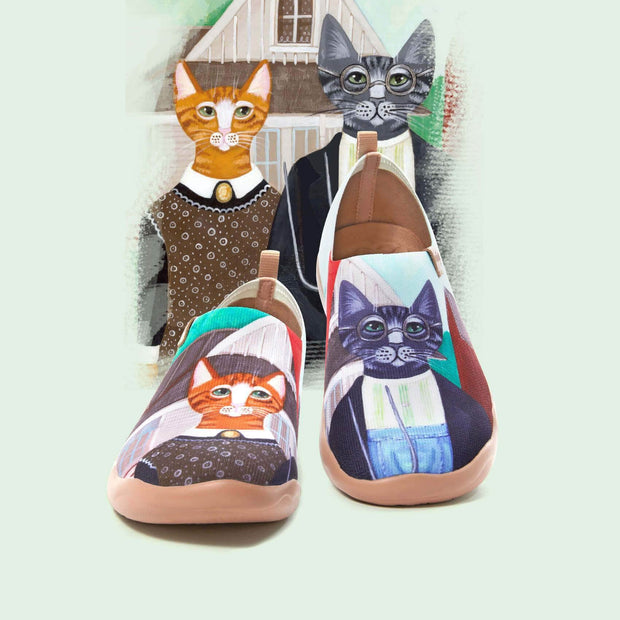 UIN Footwear Men (Pre-sale) Cat Couple Men Canvas loafers
