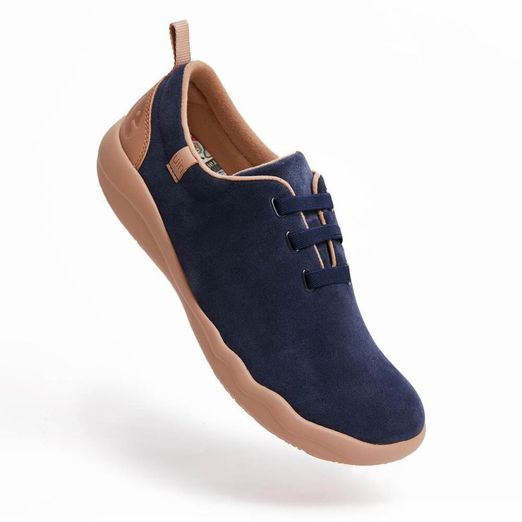 UIN Footwear Men (Pre-sale) Segovia Deep Blue Cow Suede Lace-up Shoes Men Canvas loafers