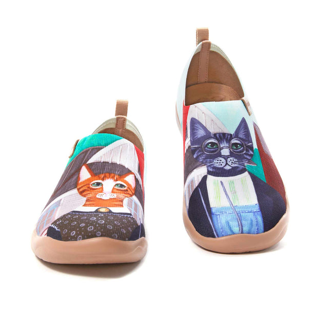 UIN Footwear Women (Pre-sale) Cat Couple Women Canvas loafers