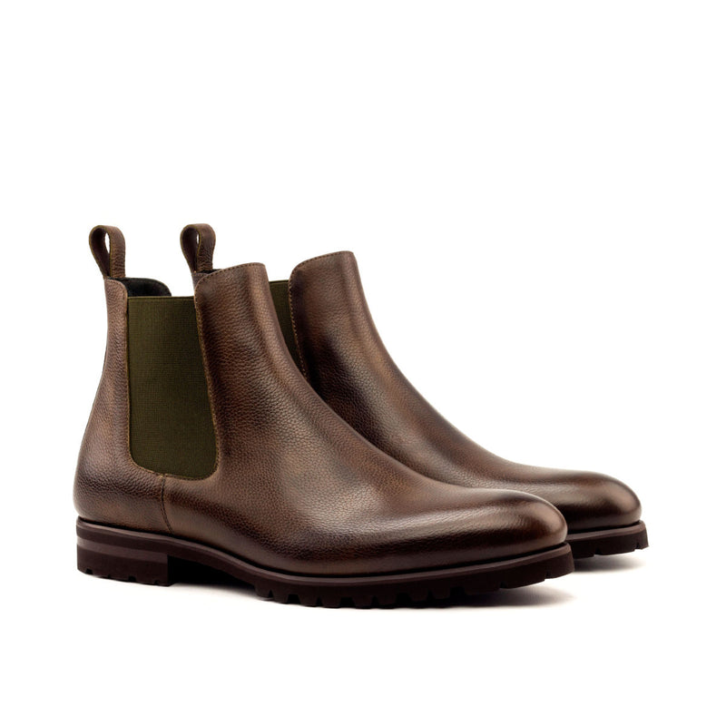 CHELSEA BOOT DARK BROWN PAINTED FULL GRAIN