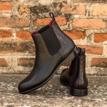 CHELSEA BOOT WITH BLACK CALF AND BLACK EMBOSSED CROCO