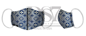 MASK ROYAL BLUE ON OFF WHITE PRINT LV MONOGRAM FLOWER